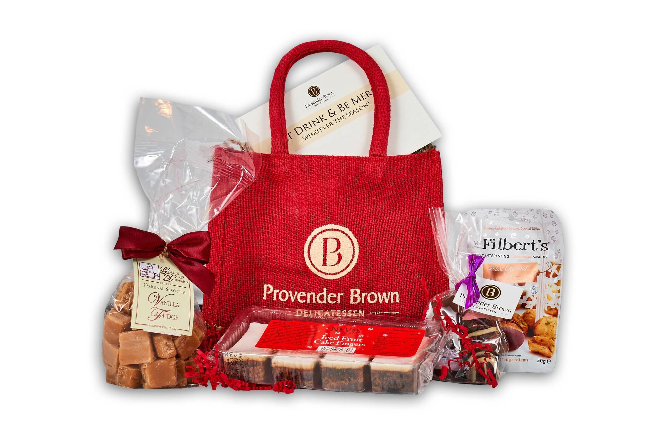 Mistletoe Jute Gift Bag Ready Made Hampers