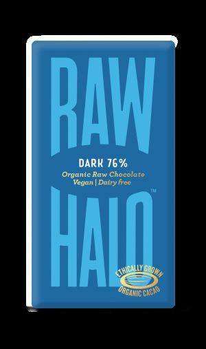 Raw Halo Dark 76% Organic Raw Chocolate Chocolate Bars